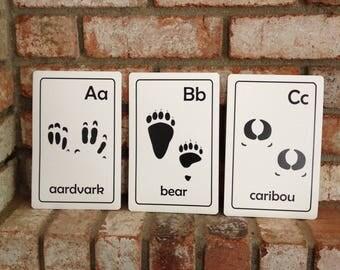 Printable PDF Animal Tracks ABC Flash cards