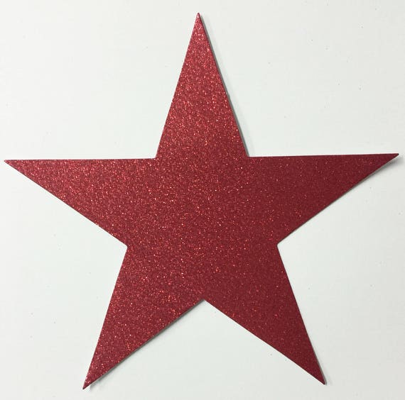 Giant Red Glitter Card Stock Star Die Cuts - 7-3/4 Inch Size - 10 Stars - Scrapbook Art Craft Military Party Decoration Altered Attic
