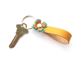 Yellow Leather Key Chain, Southwest Key Ring, Flowered Key Fob, Gifts Under 20, Women's Keychain, Unique Leather Gift, Made in Texas