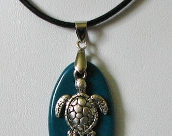Teal Dichroic Glass w/ Silver Sea Turtle Charm