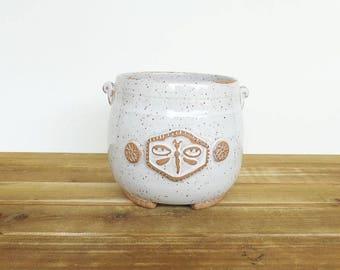 Stoneware Utensil Holder in Glossy White Glaze, Rustic Speckled, Kitchen, Handmade Pottery, Dragonfly Stamp