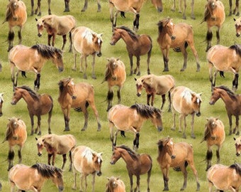 Horses- Green Pastures- Wilmington- Horse Fabric- Cotton Fabric- Wild Horse - Cowboy Fabric-Ranch Fabric -Quilting-Apparel-Choose your cut