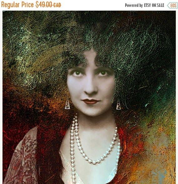 HUGE SUMMER SALE 40% off Fine art giclee print, Giclee print, Woman Portrait, Medusa, Photograph, Vintage Photograph, Photomontage, Collage,