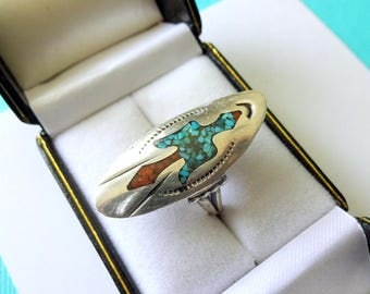 Navajo Sterling and Turquoise/Red Coral Inlay Peyote Bird Ring