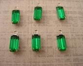 6 Vintage grüne Smaragd Octagon Strass Tropfen Anhänger 10 x 5 Silber Ton Einstellungen 1 Ring geschlossen Rücken Ohrring Tropfen Ohrring baumelt