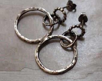 Sterling Silver Circle Earrings - Oxidized Hoop Earrings - Geometric Earrings - Silversmith Earrings - Everyday Casual -Dangle Post Earrings