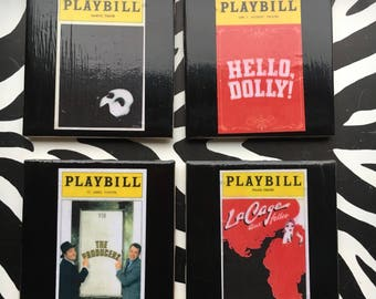 Coasters - Broadway Designs Set of 4 Shows  Phantom Of The Opera Hello Dolly The Producers and La Cage Aux Folles.