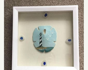 JULY SALES EVENT Beach Theme Home Decor - Handpainted Sand Dollar with Cape Hatterass Light House - Cottage Chic - Beach Box - Gift Idea-Mot