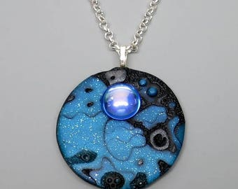 HALF OFF SALE Blue Moon Pendant Necklace, Polymer Clay with Vintage Blue Mirrored Cabochon, Mokume Gane