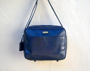 30% MOVING SALE Vintage carry on / SASSON navy blue overnight tote, messsenger bag / shoulder strap / vintage luggage, Samsonite style