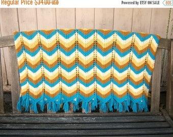 30% MOVING SALE Vintage 70's chevron afghan / crochet wrap blanket shaw / aqua blue tan yellow brown fringe /  64x35