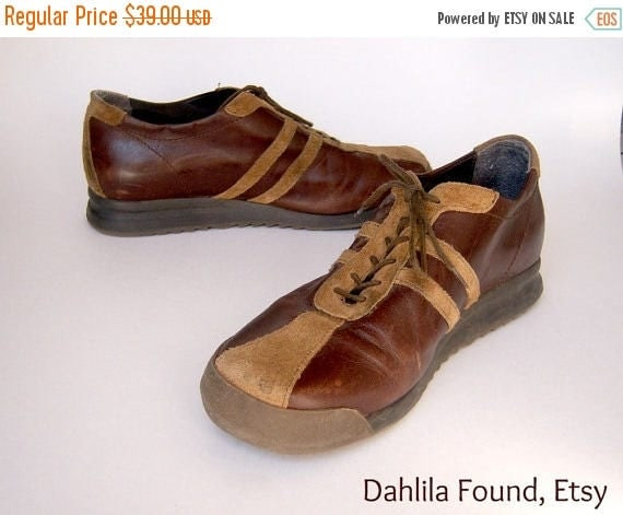 30% MOVING SALE Retro sneakers / KENNETH Cole leather shoes / espresso brown suede stripes hipster street wear / euro 37 Us 5