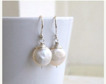 Summer Sale Coin Pearl Wire Wrapped Silver Dangle Earrings GE5B
