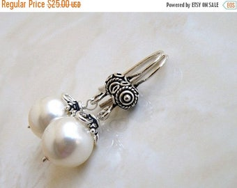 Summer Sale Bridal Earrings Swarovski Ivory Pearl Bali Sterling Silver BE14