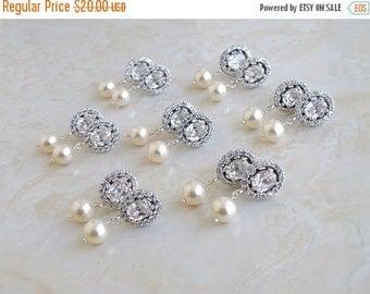 Summer Sale Bridal Earrings Oval CZ Swarovski Ivory Pearl Silver Dangle CNE9