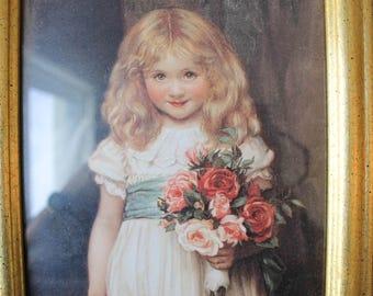 Vintage Girl Art Print, Vintage Art, Vintage Framed Art, Vintage wall decor, framed print,Girl holding flowers,French Inspired Print, Gold