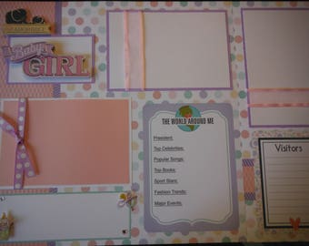 4 Baby Girl 12x12 Premade Scrapbook Pages for your family and gift
