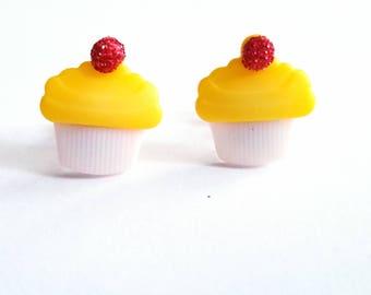 Yellow Cupcake Earrings, Kawaii Stud Earrings, Cherry on Top, Sweet Treats, Food Jewelry
