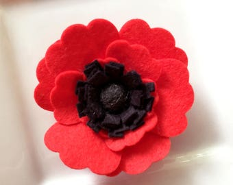 Wool felt flower Red and Black Poppy- Set of Two