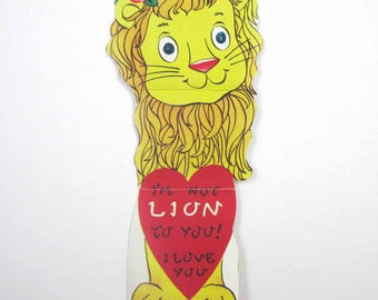 Vintage Children's Novelty Valentine Greeting Card with Yellow Lion with Rose in Mane