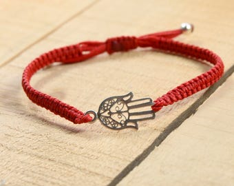 Traditional Eastern Silver Hamsa Hand Protection Charm on Red Macrame Adjustable Bracelet for Women