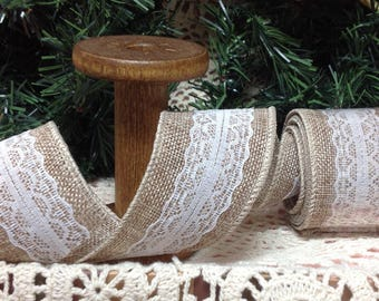 Burlap Ribbon With White Lace