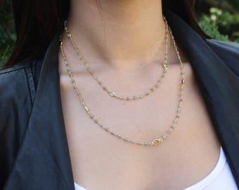 Labradorite Long Necklace, Multi stone labradorite necklace, long silver necklace, gift under 200,neutral necklace, every day necklace