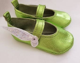 Baby Tink inspired crib shoes size 1.5 Leather, with holographic wings