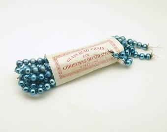 Vintage Aqua Glass Bead Garland Christmas Tree Garland Christmas Decoration
