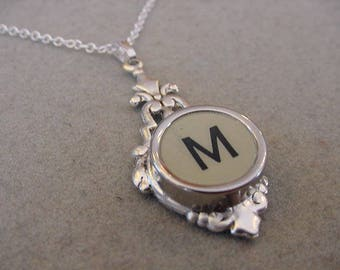 Typewriter key necklace Jewelry Rare Gray Initial M Necklace Typewriter key Initial necklace Initial M Steampunk recycled jewelry