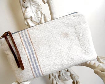 Large grain sack clutch, large utility pouch, cosmetic bag - striped feedsack - eco vintage fabrics