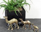 Brass Camel Miniatures, Vintage Camel Figurines, Bohemian Decor