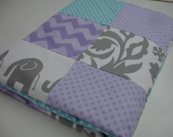 Elephants in Wonderland Aqua Lavender Gray Minky Blanket You Choose Size and Minky Color MADE TO ORDER No Batting