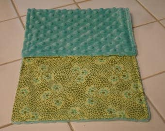 Forget Me Not in Olive Burp Cloth 9 x 19 READY TO SHIP