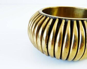 Brass Bangle Bracelet Vintage Chunky Ribbed Modern Tribal Boho Chic