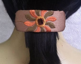 CLEARANCE - Orange green barrette, floral fabric barrette, hair accessory, fashion accessory