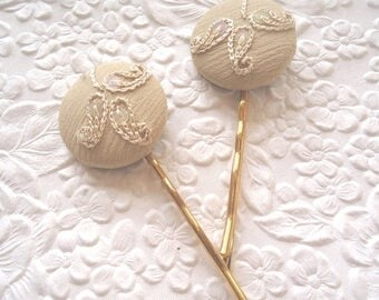 CLEARANCE - 2 beige hairpins, embroidered hairpins, fabric hairpins, 1 1/8 inch hairpins, hair accessory, womens accessory