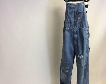Vintage Weathered   Bibbed  Denim Overalls Med Long