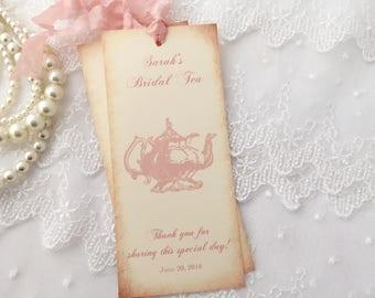 Blush Tea Party Favors Bookmarks Teapot Personalized Set of 10