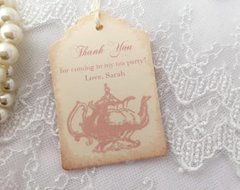 Pink Tea Party Tags Thank You Favor Tags Set of 10