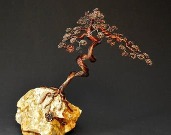 Hand Twisted Metal Copper Bonsai Wire Tree Art Sculpture  - 2284 - FREE SHIPPING