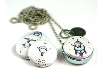 Outerspace Necklace Locket • Outerspace Jewelry • Magnetic Locket • Switchable Lids • Spaceship • Alien Martian • Gift for Explorer Child