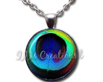 25% OFF - Peacock Feather Bright - Round Glass Dome Pendant or with Necklace by IMCreations -AN106
