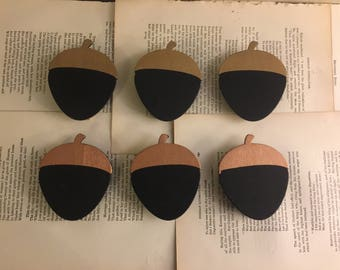 6 Acorn Wood Chalkboard Sign Gift Tags Toppers Clips FREE US SHIPPING