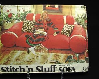 RARE Vintage Retro Stuffed Sofa Pattern Uncut Butterick Stitch N Stuff Sew It Yourself Sofa 1970 Boho Hippie Disco Hipster Rockabilly Decor