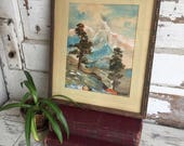 Vintage Painting Signed Vivian Slaughter - Texas Mixed Media Mountain View Rustic