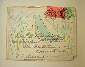 ARTWORK vintage envelope - original - hand painted with water colour and embroidered