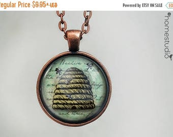 ON SALE - Beehive : Glass Dome Necklace, Pendant or Keychain Key Ring. Gift Present metal round art photo jewelry by HomeStudio