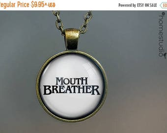ON SALE - Mouth Breather (WHT) : Glass Dome Necklace, Pendant or Keychain Key Ring. Gift Present metal round art photo jewelry by HomeStudio