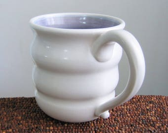 Large Coffee Mug, Purple Beehive Mug, Pottery Coffee Cup 16 oz Lavender Ceramic Mug, Hand Thrown Stoneware, Handmade